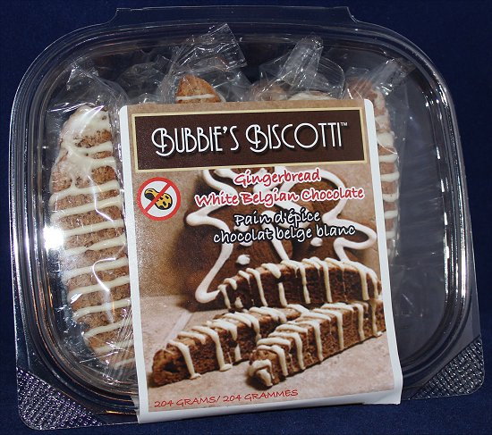 Bubbie's Biscotti Gingerbread White Belgian Chocolate Biscotti