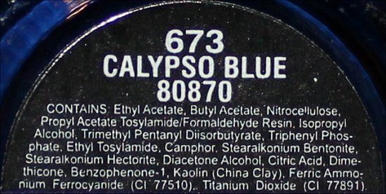 China Glaze Calypso Blue Ingredients