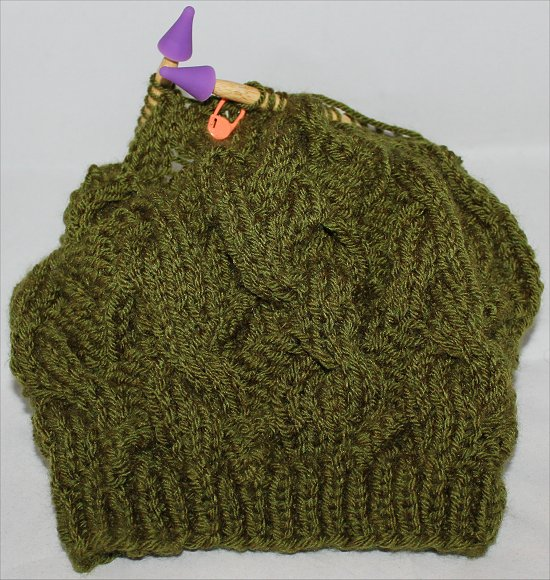 Green Beanie Knitting a Hat