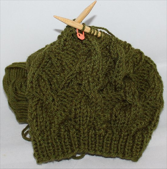 Knitting Green Beanie