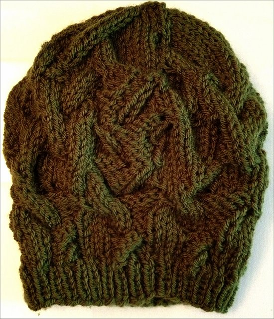 Knitting a Green Hat Completed Project