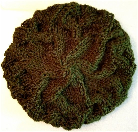 Knitting a Green Hat Finished Project