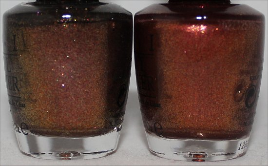 OPI Warm & Fozzie vs. OPI Sprung Comparison Pictures