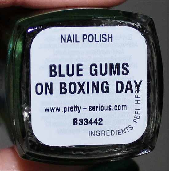 Pretty Serious Cosmetics Christmas Without Snow Collection Blue Gums on Boxing Day