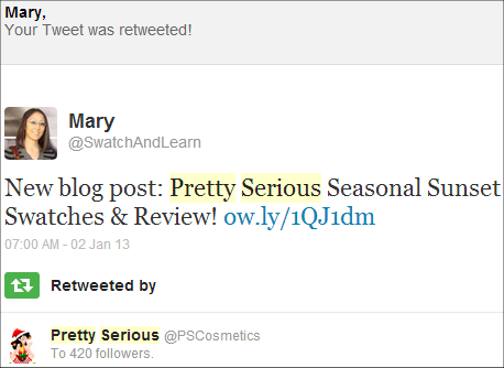 Pretty Serious Cosmetics SwatchAndLearn Twitter