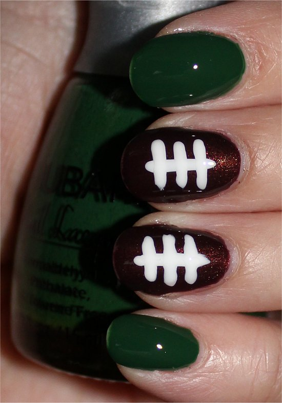 Football Nails Nail Art Tutorial & Pictures