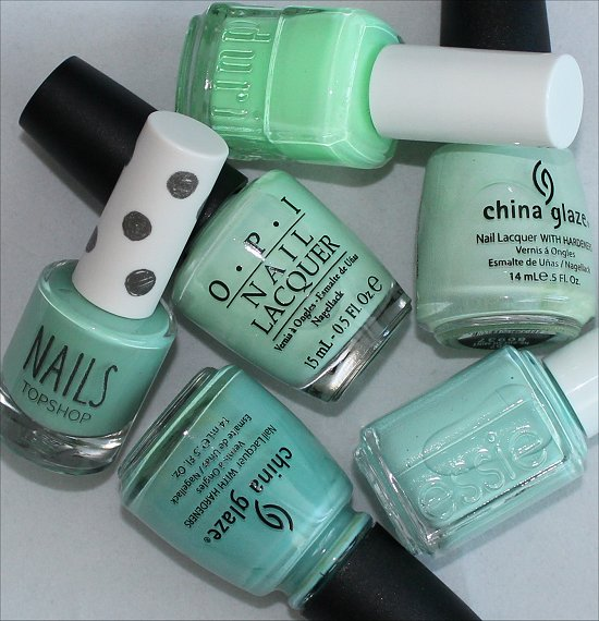 Mint Green Nail Polish Comparison Photos