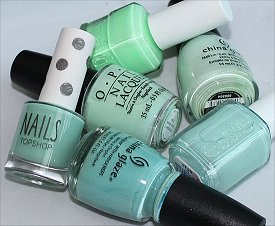 Mint Green Nail Polish Swatches & Comparison Photos