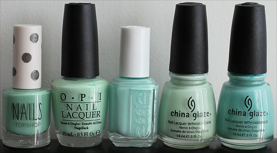 Minty Green Nail Polish Comparison Photos