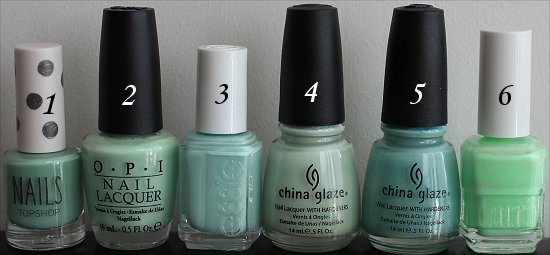Minty Green Nail Polish Comparison Pictures