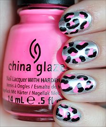 Silver, Black & Neon Pink Leopard Nails Nail Art