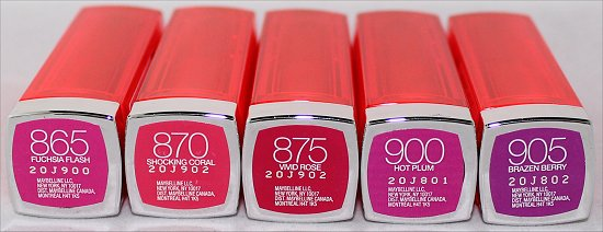 Maybelline Vivids Shocking Coral, Fuchsia Flash, Brazen Berry, Vivid Rose, Hot Plum