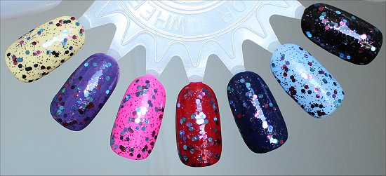 OPI Polka.com Swatches Layered Over Yellow, Purple, Pink, Red, Blue & Black