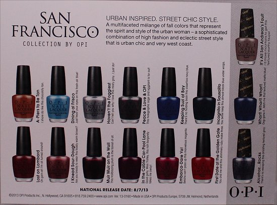 San Francisco Collection by OPI Press Release & Swatches