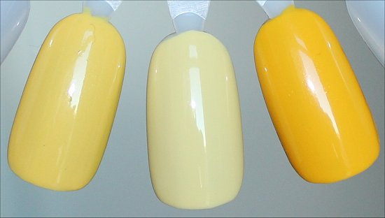 Yellow Nail Polish Comparison Swatches Orly Spark, NCLA Tennis Anyone & Nicole by OPI Hit the Lights