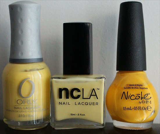 Yellow Nail Polish Comparison Swatches