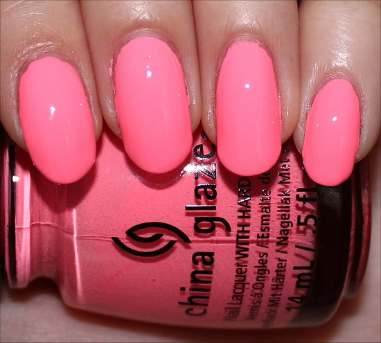 Fluorescent Neon Pink Nail Polish: China Glaze Neon & On & On Swatches & Review