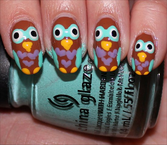 Nail Art Owl Nails Tutorial