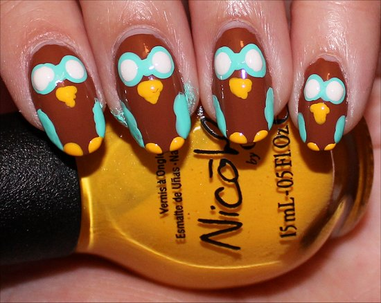 Owl Nail Nail Art Tutorial Step 6