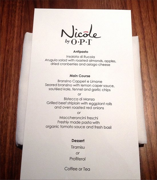 Nicole by OPI Carrie Underwood Media Luncheon Menu