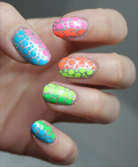 Neon Dotticure Rainbow Nails