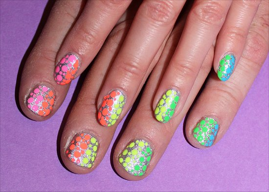 Neon Rainbow Dotticure on a MAN Nail Art