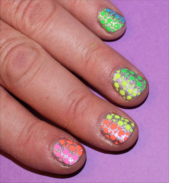 Neon Rainbow Dotticure on a MAN