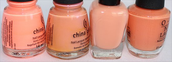 Peach Nailpolish Comparison Pictures