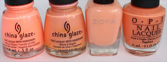 Peach Nailpolish Comparison