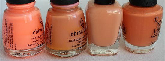 Peachy Nail Polish Comparison Pictures
