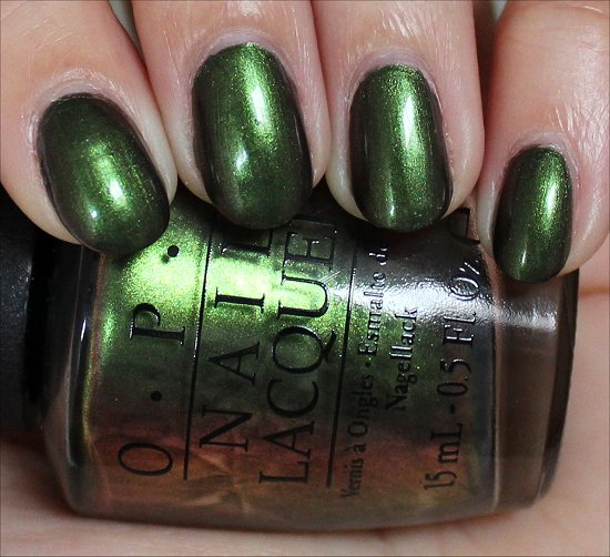 OPI Green on the Runway Swatch Dim Lighting