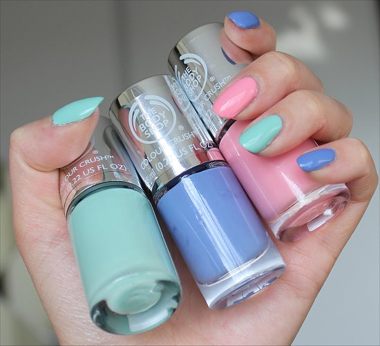 The Body Shop Colour Crush Collection Got the Blues, Oh Petal & Mint Cream Swatches