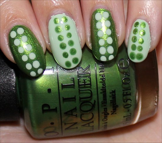 Green Dotticure OPI My Gecko Does Tricks & OPI That's Hula-rious