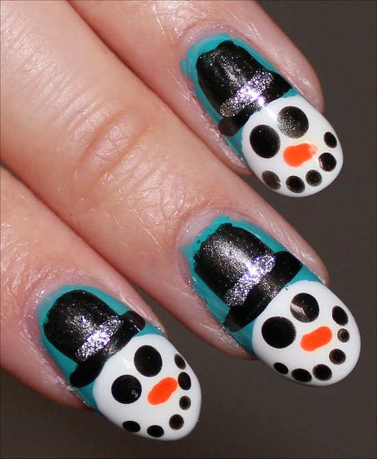 Snowman Nail Art Tutorial Swatches