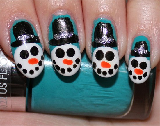 Snowman Nails Nail-Art Tutorial