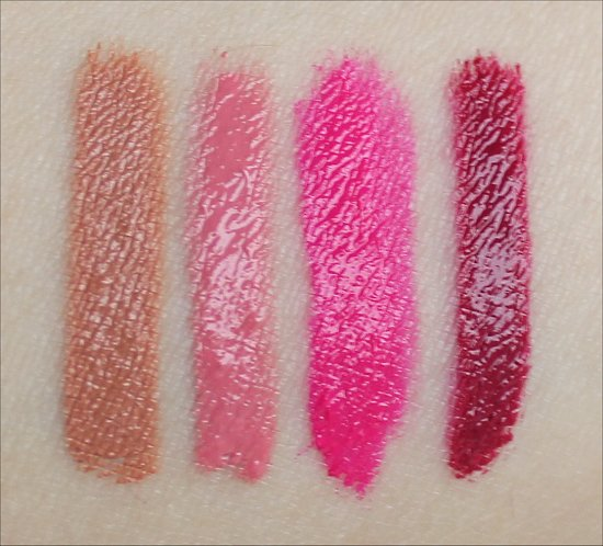 Too Faced Melted Nude Swatches Melted Peony Swatches Melted Fuchsia Swatches Melted Berry Swatches
