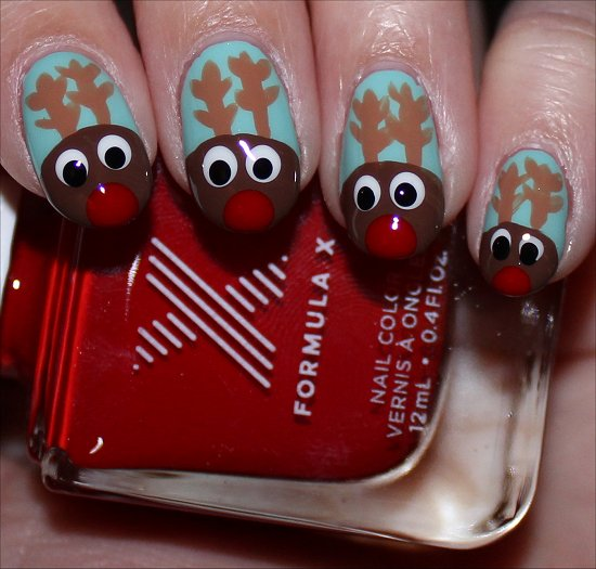 Christmas Nail Art Rudolph Nails