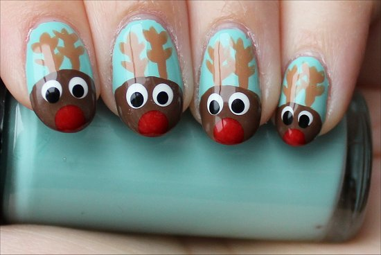 Easy Christmas Nail Art Rudolph