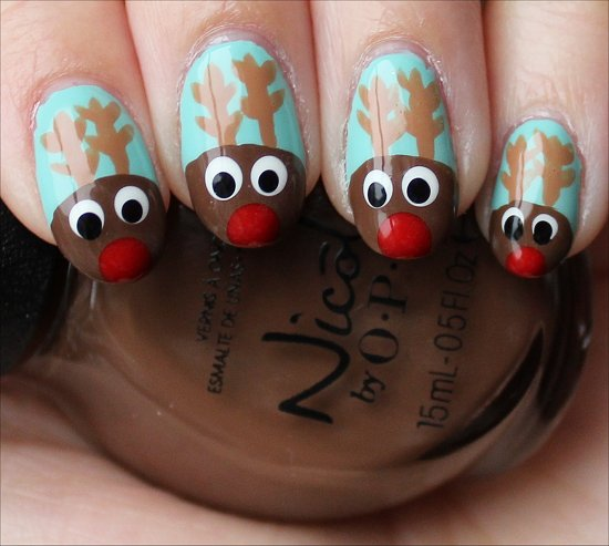 Holiday Nail Art Rudolph Reindeer