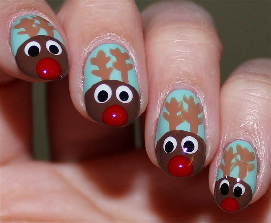 Reindeer Nail Art Rudolph Nails