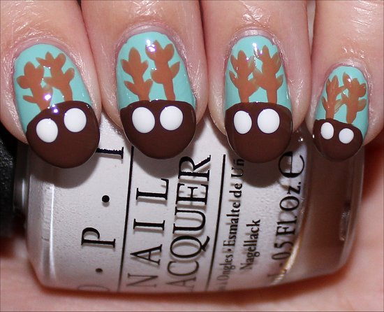 Rudolph the Red-Nosed Reindeer Nail Art Tutorial Step 5