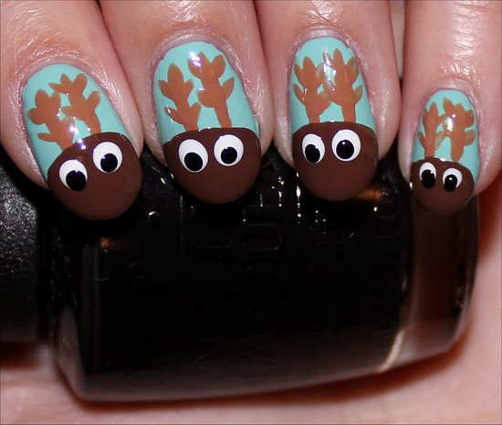 Rudolph the Red-Nosed Reindeer Nail Art Tutorial Step 6