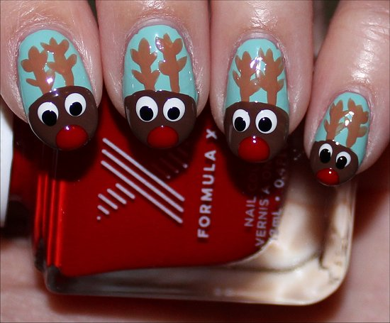 Rudolph the Red-Nosed Reindeer Nail Art Tutorial Step 7