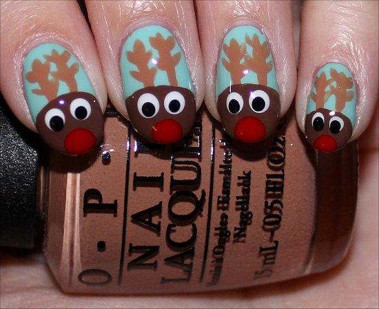 Rudolph the Red-Nosed Reindeer Nail-Art Tutorial