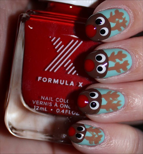 Rudolph the Red-Nosed Reindeer Nail Art