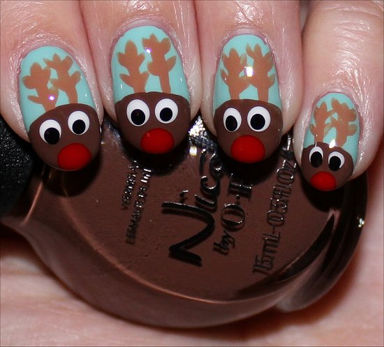 Rudolph the Reindeer Nail Art