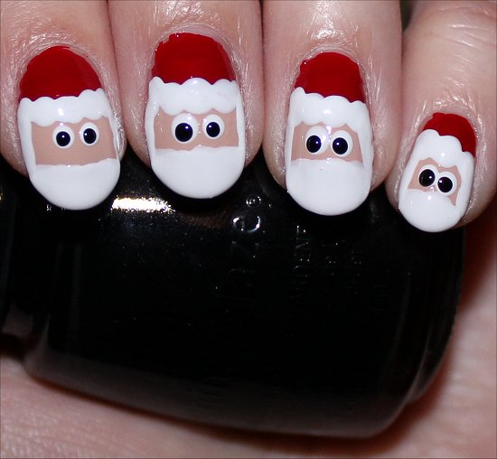 Santa Claus Nail Art Tutorial Step 8
