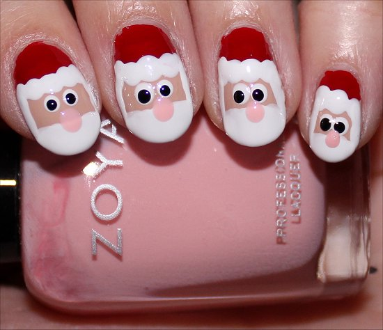 Santa Claus Nail Art Tutorial Step 9