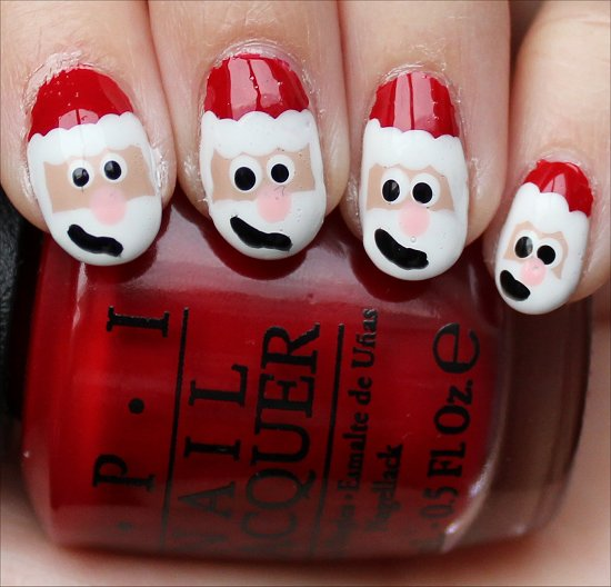 Santa Claus Nails Nail-Art Tutorial