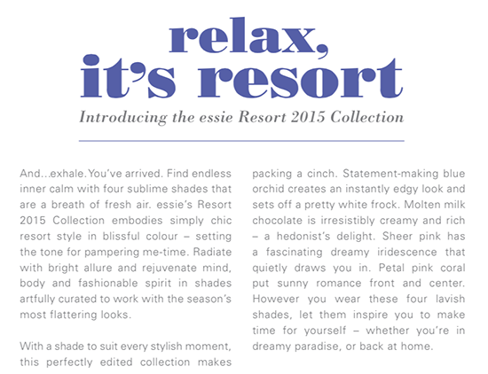 Essie Resort Collection for 2015
